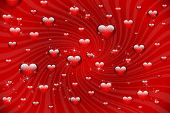 Shiny red hearts on the sunburst background Royalty Free Stock Photos