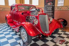 Shiny red hot rod car. At Victorian Hot Rod & Cool Rides Show in Melbourne, Australia Stock Images
