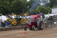 Shiny Red International Turbo Tractor Pulling Royalty Free Stock Photos