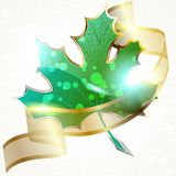 Shiny red leaf with transparent banner Stock Photos