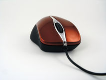 Shiny red optical mouse. View of a shiny red wired optical mouse Stock Photography