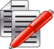 Shiny red pen and documents. Or contacts icon illustration Stock Photography
