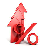 Shiny red percent symbol with growing up arrow. 3d Stock Image