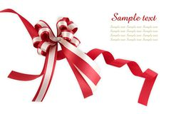 Shiny red ribbon bow Royalty Free Stock Photos