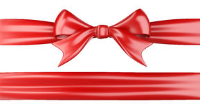 Shiny red ribbon with bow. 3d illustration  on white background Royalty Free Stock Images