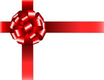 Shiny red ribbon with bow on white background Royalty Free Stock Images