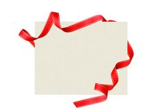 Shiny red ribbon with card isolated on white Royalty Free Stock Images