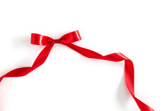 Shiny red ribbon on white background Royalty Free Stock Photo