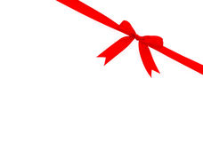 Shiny red ribbon on white background with copy space. Stock Image