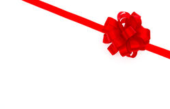 Shiny red ribbon on white background with copy space. Royalty Free Stock Images