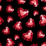 Shiny red ruby heart on black background seamless Stock Photography