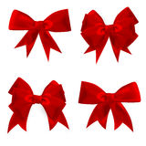Shiny red satin bow Set. EPS 10 Royalty Free Stock Photo