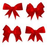 Shiny red satin bow Set. EPS 10 Royalty Free Stock Photo