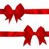 Shiny red satin bow Set. EPS 10 Stock Photography