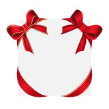 Shiny red satin bows, red bow and red bow with yellow lines Royalty Free Stock Image