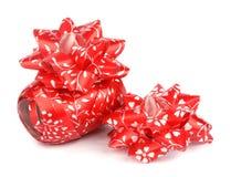 Shiny red satin ribbon. Isolated on a white background Stock Image