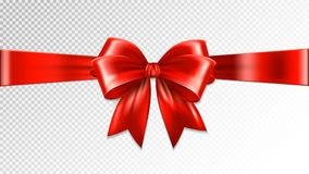 Shiny red satin ribbon on transparent background. Vector.  Royalty Free Stock Images
