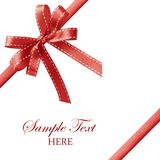 Shiny red satin ribbon on white background Royalty Free Stock Photo