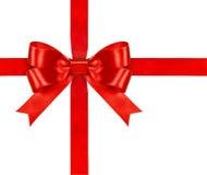 Shiny red satin ribbon Stock Image