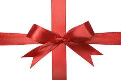 Shiny red satin ribbon Stock Photos