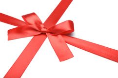 Shiny red satin ribbon Stock Photo