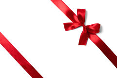 Shiny red satin ribbon on white background Stock Photography