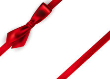 Shiny red satin ribbon on white background. Vector Royalty Free Stock Photos