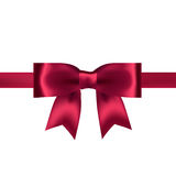 Shiny red satin ribbon on white background. Vector Stock Photo