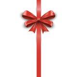 Shiny red satin ribbon on white background. Vector Royalty Free Stock Photos