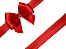 Shiny red satin ribbon on white background. royalty free illustration