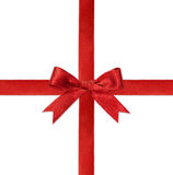 Shiny red satin ribbon on white gift box Royalty Free Stock Images