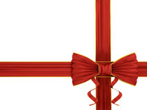 Shiny red silk ribbon Royalty Free Stock Photos