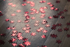 Shiny red snowflakes Christmas decoration Royalty Free Stock Photography