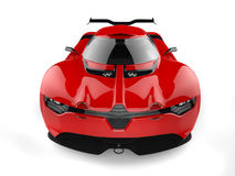 Shiny red sport concept car - front view - wide angle shot Royalty Free Stock Photo