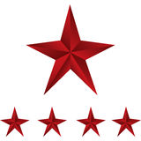 Shiny Red Stars. Form of first. Illustration for design on white background Royalty Free Stock Images