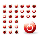 Shiny red web buttons. Collection of shiny web buttons - all in separate vector layers Royalty Free Stock Photos