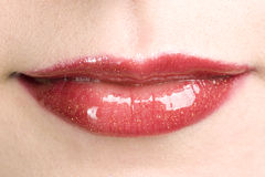 Shiny Red Woman S Lips With Make Up Royalty Free Stock Photography