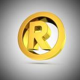 Shiny registered mark. Golden shiny registered mark symbol on grey Royalty Free Stock Images