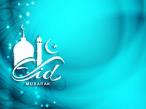 Shiny religious Eid Mubarak background design. Royalty Free Stock Image