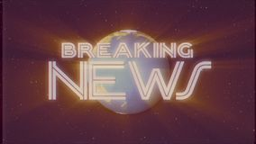 Shiny retro BREAKING NEWS text with earth globe light rays moving old vhs tape retro intro effect tv screen animation. Earth globe light rays moving on old vhs stock video