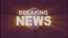 Shiny retro BREAKING NEWS text with earth globe light rays moving old vhs tape retro intro effect tv screen animation. Earth globe light rays moving on old vhs stock footage