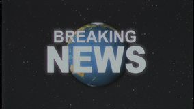 Shiny retro BREAKING NEWS text with earth globe old vhs tape retro intro effect tv screen animation background seamless. Earth globe light rays moving on old vhs stock video