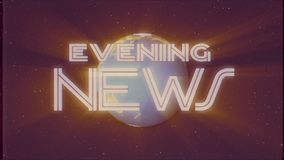 Shiny retro EVENING NEWS text with earth globe light rays moving old vhs tape retro intro effect tv screen animation. Earth globe light rays moving on old vhs stock video footage