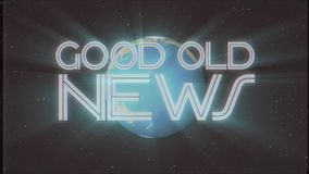 Shiny retro GOOD OLD NEWS text with earth globe light rays moving old vhs tape retro intro effect tv screen animation. Earth globe light rays moving on old vhs stock footage