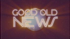 Shiny retro GOOD OLD NEWS text with earth globe light rays moving old vhs tape retro intro effect tv screen animation. Earth globe light rays moving on old vhs stock video footage