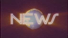 Shiny retro NEWS text with earth globe light rays moving on old vhs tape retro intro effect tv screen animation. Earth globe light rays moving on old vhs tape stock video