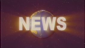 Shiny retro NEWS text with earth globe light rays moving on old vhs tape retro intro effect tv screen animation. Earth globe light rays moving on old vhs tape stock video footage