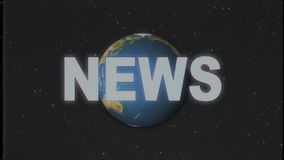 Shiny retro NEWS text with earth globe moving on old vhs tape retro intro effect tv screen animation background seamless. Earth globe light rays moving on old stock video
