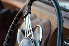 Shiny retro steering wheel Stock Images