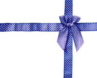 Shiny Ribbon blue (bow) gird box frame isolated on white backgro Royalty Free Stock Photos